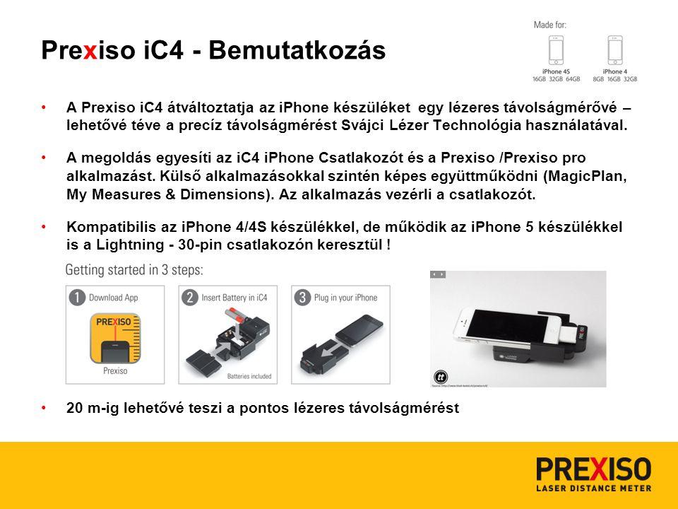 Prexiso iC4 - Bemutatkozás A Prexiso iC4 átváltoztatja az iPhone készüléket egy lézeres távolságmérővé – lehetővé téve a precíz távolságmérést Svájci Lézer Technológia használatával.