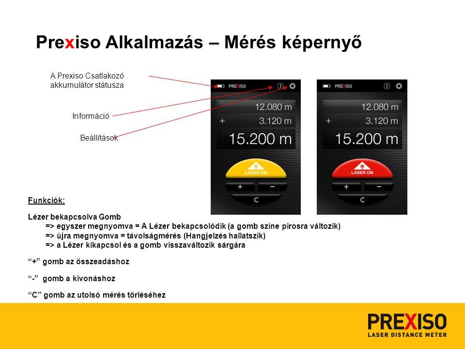 Prexiso Alkalmazás - Beállítások