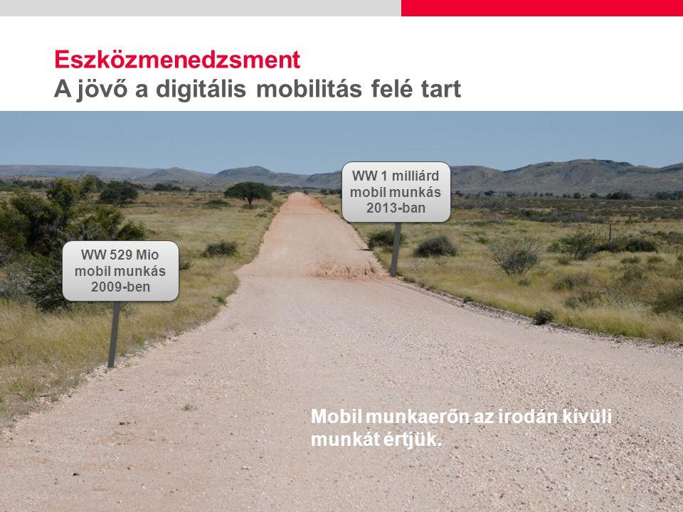 2 WW 1 milliárd mobil munkás 2013-ban WW 529 Mio mobil munkás 2009-ben Eszközmenedzsment A jövő a digitális mobilitás felé tart Mobil munkaerőn az irodán kívüli munkát értjük.