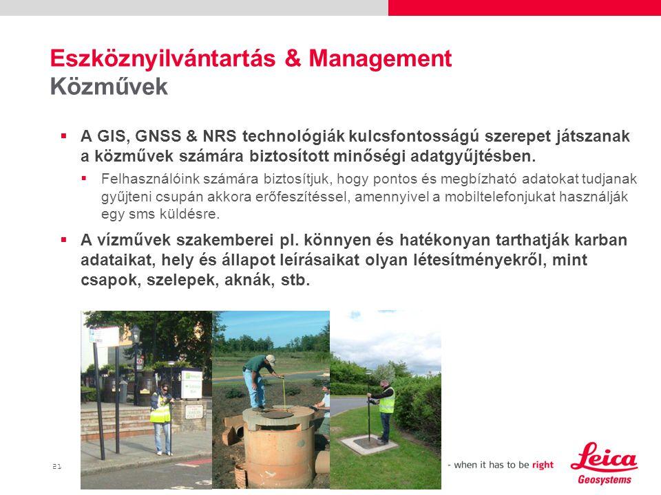 21  A GIS, GNSS & NRS technológiák kulcsfontosságú szerepet játszanak a közművek számára biztosított minőségi adatgyűjtésben.
