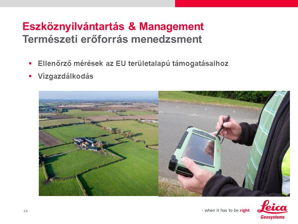 28  Ellenőrző mérések az EU területalapú támogatásaihoz  Vízgazdálkodás Eszköznyilvántartás & Management Természeti erőforrás menedzsment
