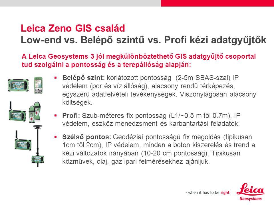 Leica Zeno GIS család Low-end vs. Belépő szintű vs.