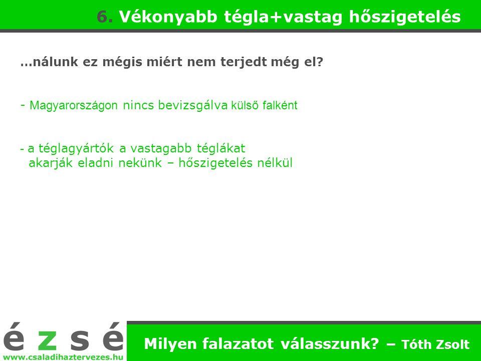 …nálunk ez mégis miért nem terjedt még el? - Magyarországon nincs bevizsgálva külső falként - a téglagyártók a vastagabb téglákat akarják eladni nekün
