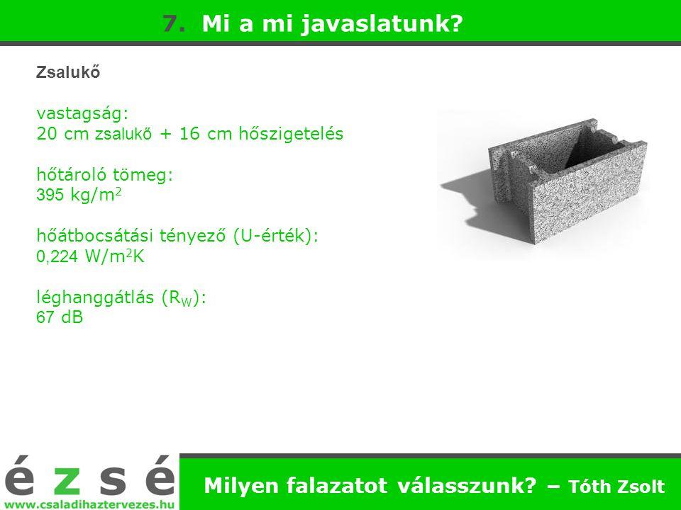 Milyen falazatot válasszunk? – Tóth Zsolt 7. Mi a mi javaslatunk? Zsalukő vastagság: 20 cm zsalukő + 16 cm hőszigetelés hőtároló tömeg: 395 kg/m 2 hőá