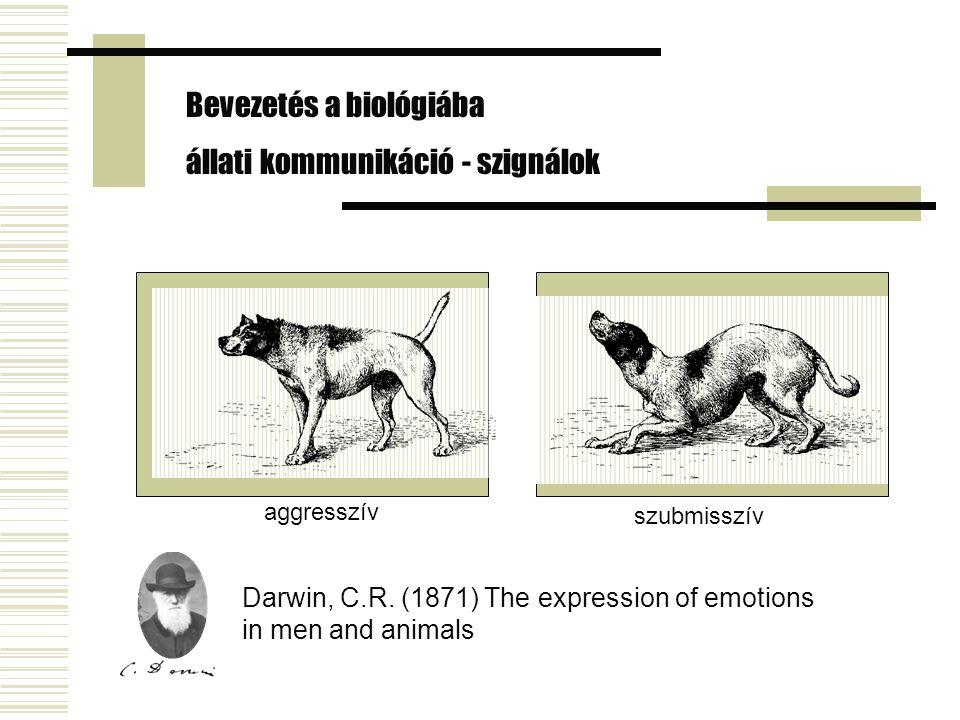 Bevezetés a biológiába állati kommunikáció - szignálok aggresszív szubmisszív Darwin, C.R. (1871) The expression of emotions in men and animals