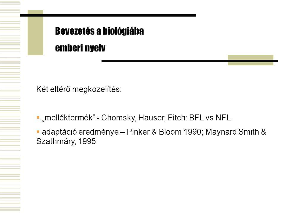 """Két eltérő megközelítés:  """"melléktermék"""" - Chomsky, Hauser, Fitch: BFL vs NFL  adaptáció eredménye – Pinker & Bloom 1990; Maynard Smith & Szathmáry,"""