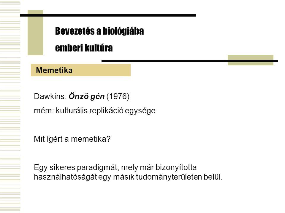 Dawkins: Önző gén (1976) mém: kulturális replikáció egysége Mit ígért a memetika? Egy sikeres paradigmát, mely már bizonyította használhatóságát egy m
