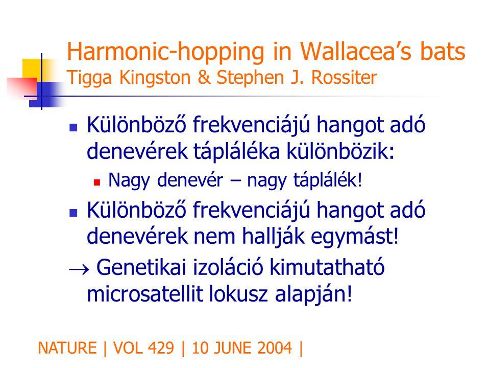 Harmonic-hopping in Wallacea's bats Tigga Kingston & Stephen J. Rossiter Különböző frekvenciájú hangot adó denevérek tápláléka különbözik: Nagy denevé
