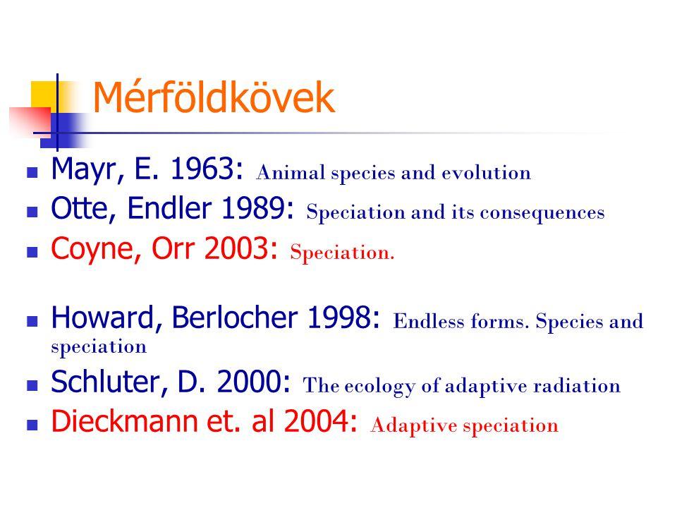 Mérföldkövek Mayr, E. 1963: Animal species and evolution Otte, Endler 1989: Speciation and its consequences Coyne, Orr 2003: Speciation. Howard, Berlo