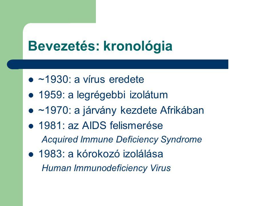 Bevezetés: kronológia 1981: az AIDS felismerése Acquired Immune Deficiency Syndrome 1983: a kórokozó izolálása Human Immunodeficiency Virus ~1930: a vírus eredete 1959: a legrégebbi izolátum ~1970: a járvány kezdete Afrikában