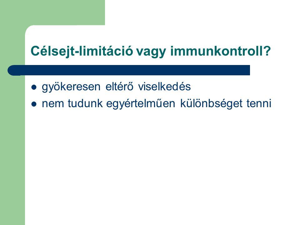 Célsejt-limitáció vagy immunkontroll.