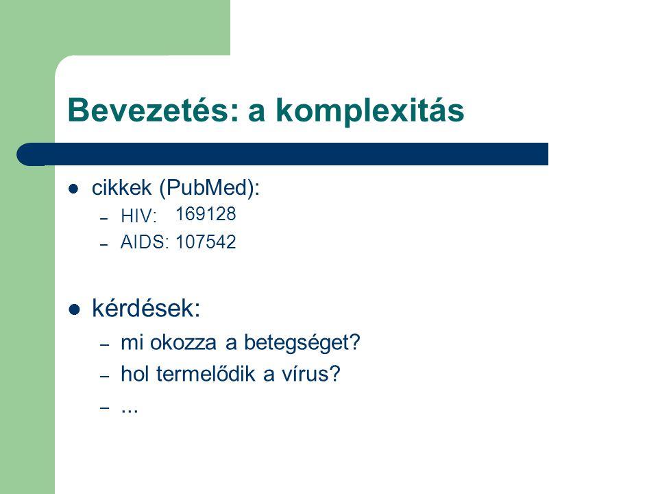Bevezetés: a komplexitás cikkek (PubMed): – HIV: – AIDS: kérdések: – mi okozza a betegséget.