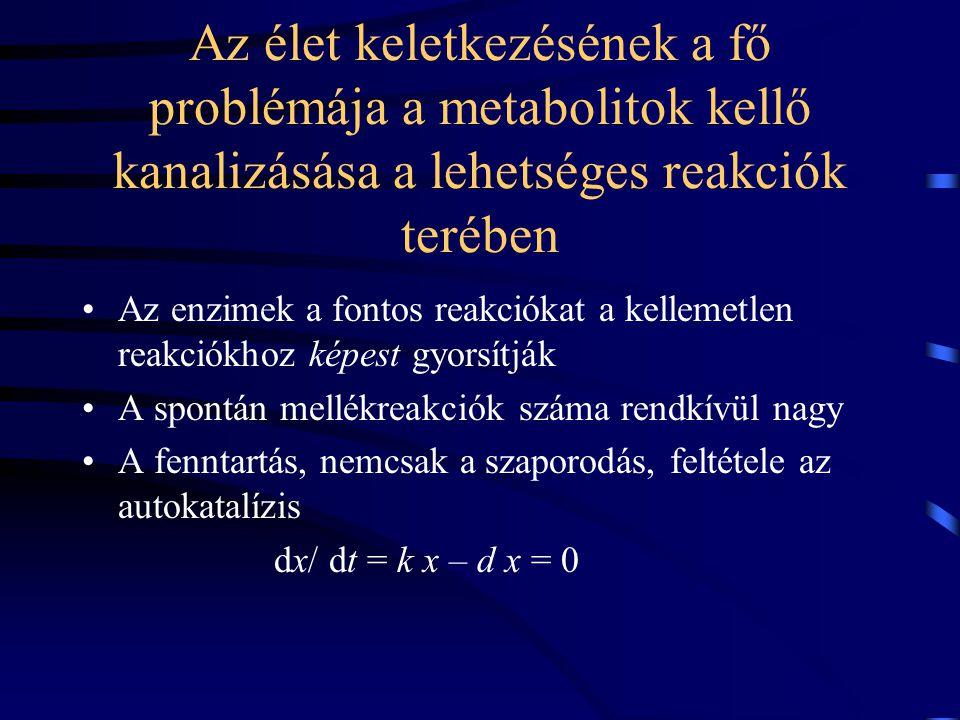 Az élet keletkezésének a fő problémája a metabolitok kellő kanalizásása a lehetséges reakciók terében Az enzimek a fontos reakciókat a kellemetlen reakciókhoz képest gyorsítják A spontán mellékreakciók száma rendkívül nagy A fenntartás, nemcsak a szaporodás, feltétele az autokatalízis dx/ dt = k x – d x = 0