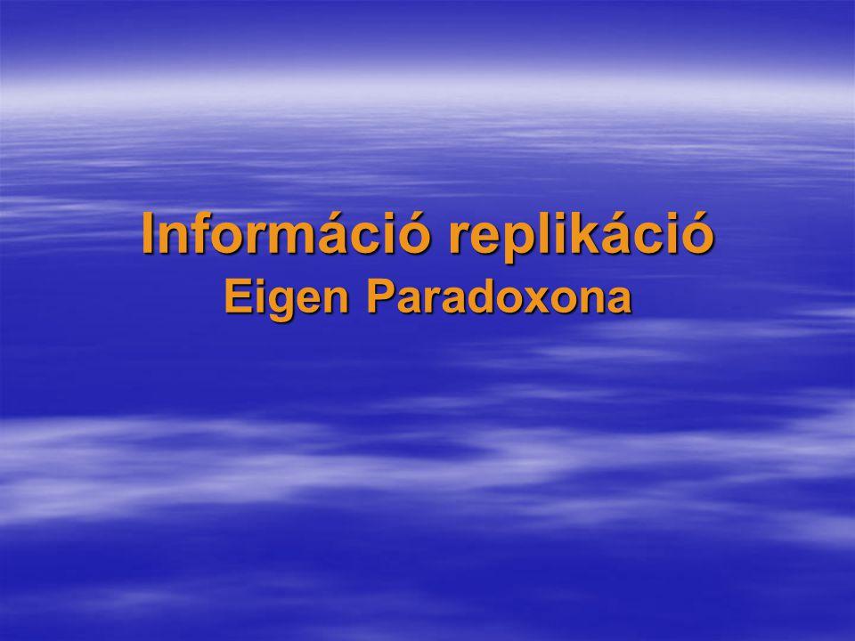 Információ replikáció Eigen Paradoxona