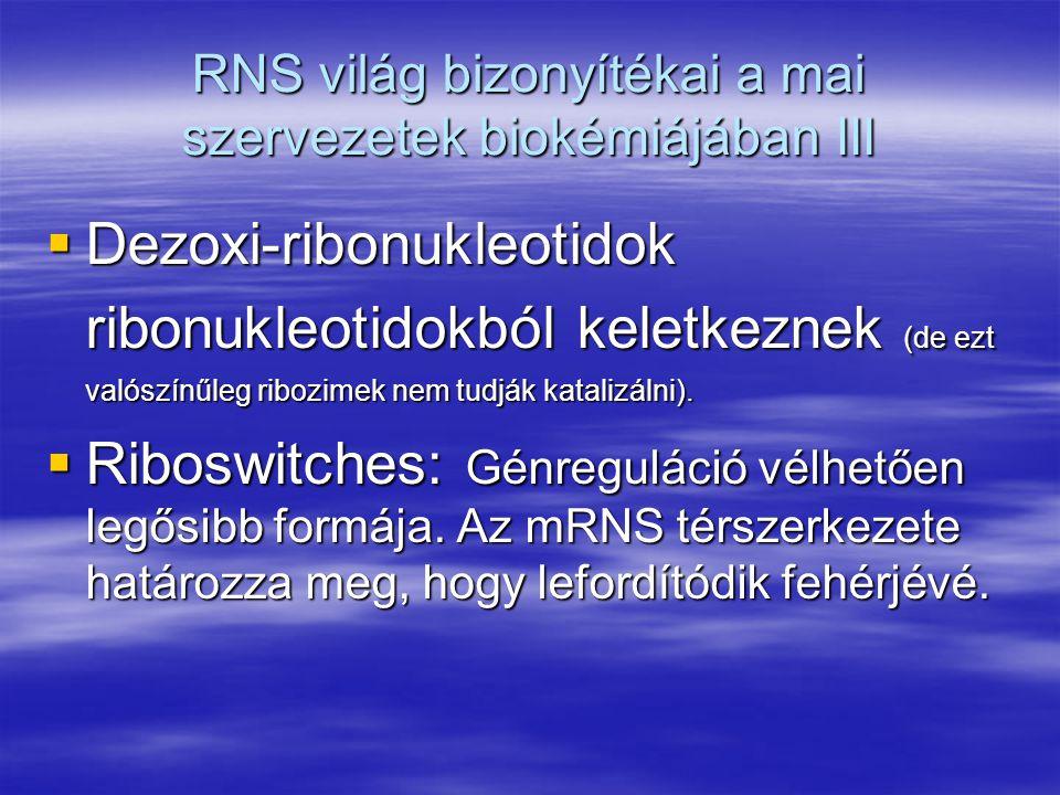 """RNS világ bizonyítékai a mai szervezetek biokémiájában IV: Transzláció  mRNS  tRNS  riboszóma A DNS  fehérje """"átmentet (transzláció) RNS közvetítésével történik Riboszómában a peptidil transzfert egy ribozim végzi!"""