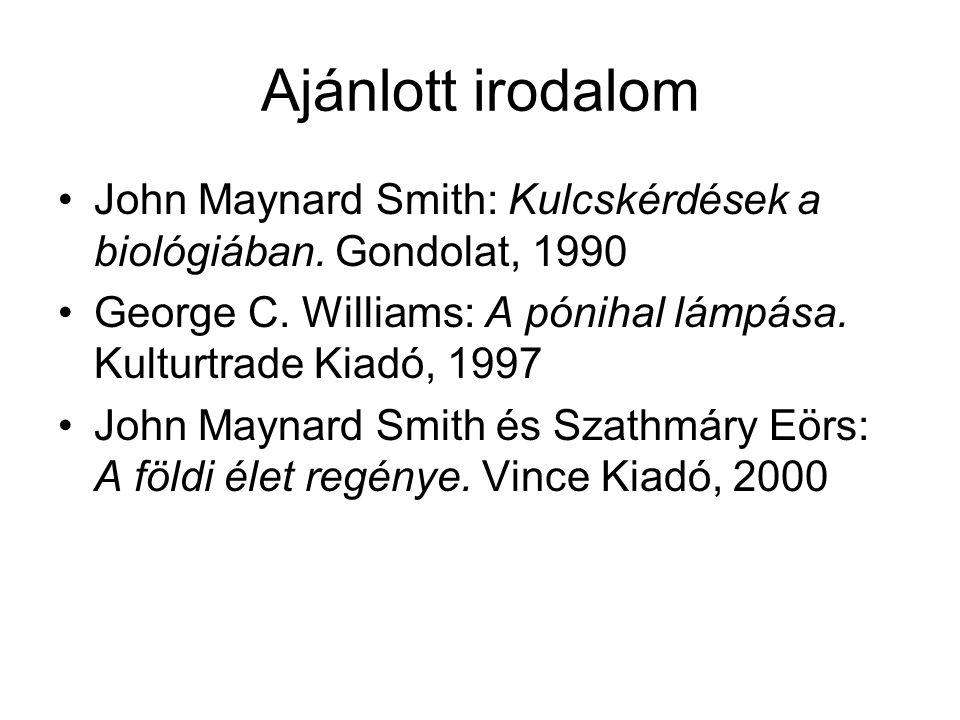 Ajánlott irodalom John Maynard Smith: Kulcskérdések a biológiában. Gondolat, 1990 George C. Williams: A pónihal lámpása. Kulturtrade Kiadó, 1997 John