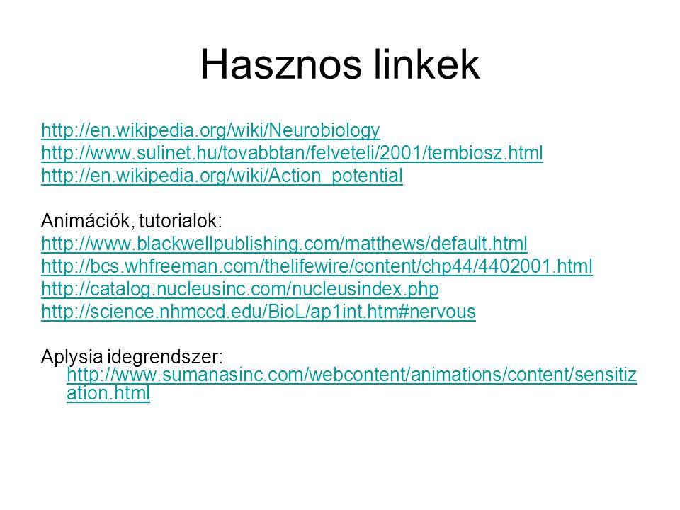Hasznos linkek http://en.wikipedia.org/wiki/Neurobiology http://www.sulinet.hu/tovabbtan/felveteli/2001/tembiosz.html http://en.wikipedia.org/wiki/Act