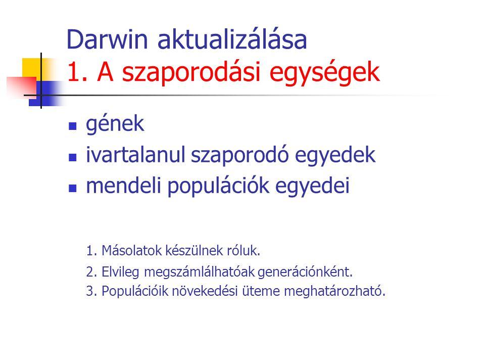 Darwin aktualizálása 1. A szaporodási egységek gének ivartalanul szaporodó egyedek mendeli populációk egyedei 1. Másolatok készülnek róluk. 2. Elvileg