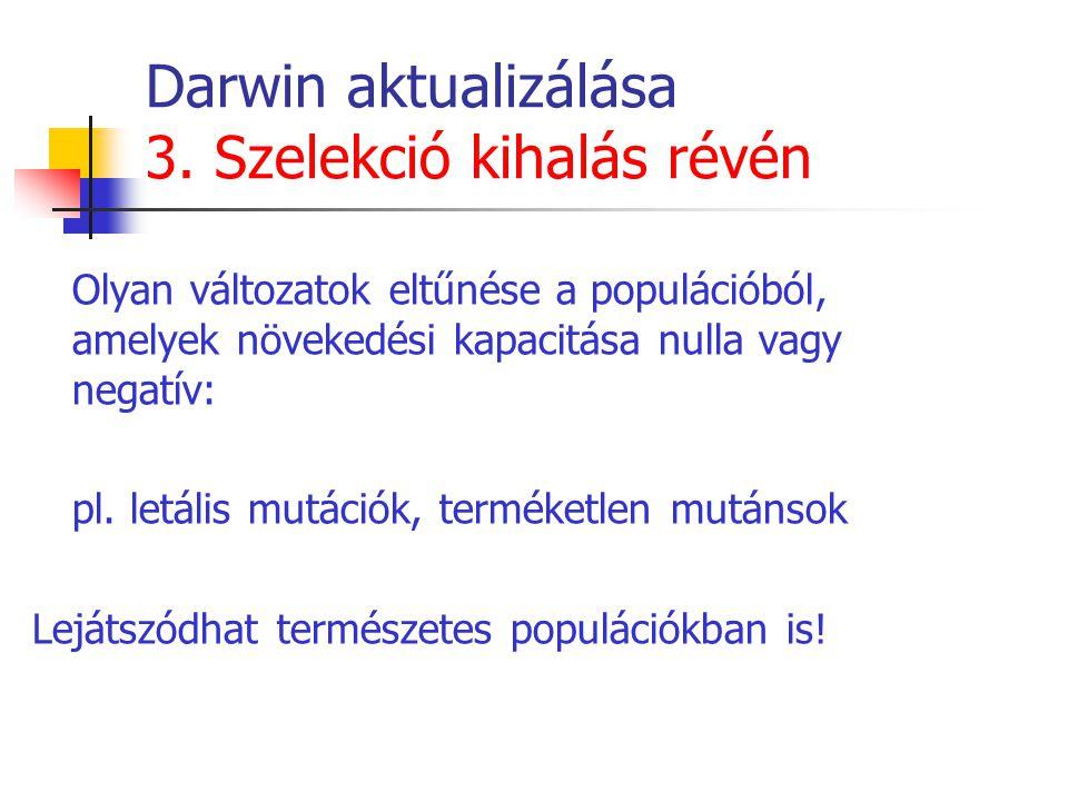 Darwin aktualizálása 3. Szelekció kihalás révén Olyan változatok eltűnése a populációból, amelyek növekedési kapacitása nulla vagy negatív: pl. letáli