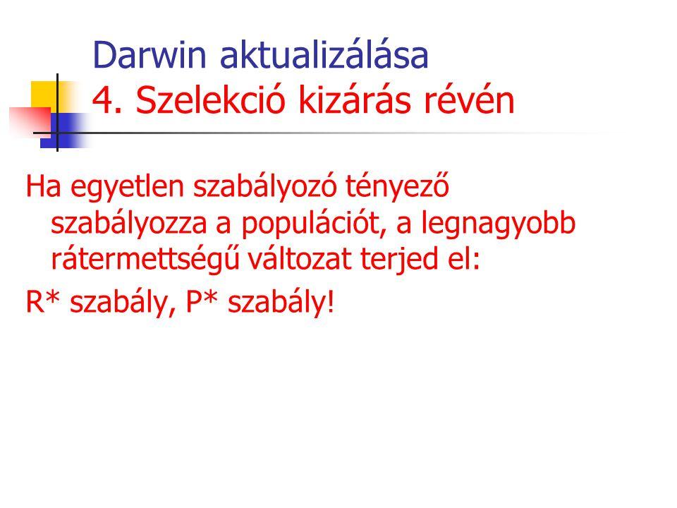 Darwin aktualizálása 4. Szelekció kizárás révén Ha egyetlen szabályozó tényező szabályozza a populációt, a legnagyobb rátermettségű változat terjed el