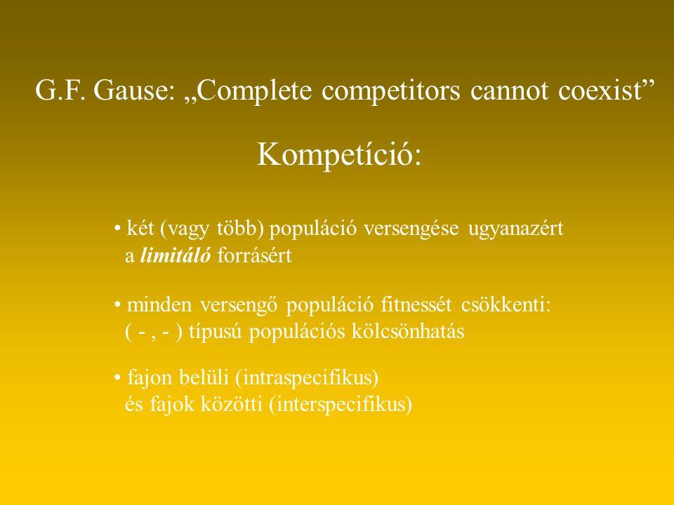 Kompetíció: két (vagy több) populáció versengése ugyanazért a limitáló forrásért minden versengő populáció fitnessét csökkenti: ( -, - ) típusú populá