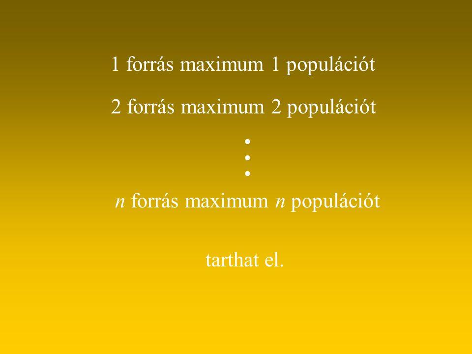 1 forrás maximum 1 populációt 2 forrás maximum 2 populációt n forrás maximum n populációt tarthat el.   