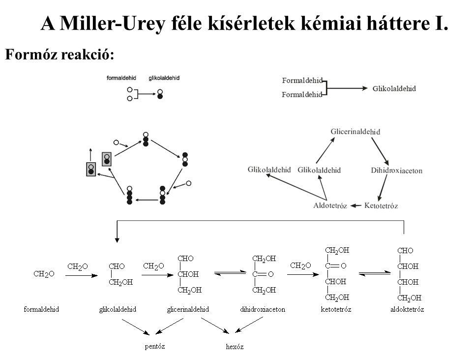 A Miller-Urey féle kísérletek kémiai háttere I. Formóz reakció: