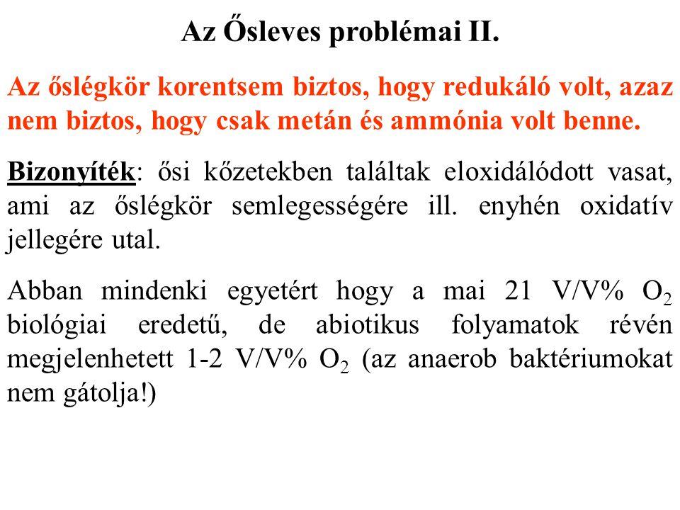 Az Ősleves problémai II. Az őslégkör korentsem biztos, hogy redukáló volt, azaz nem biztos, hogy csak metán és ammónia volt benne. Bizonyíték: ősi kőz