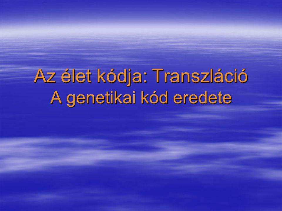 Az élet kódja: Transzláció A genetikai kód eredete