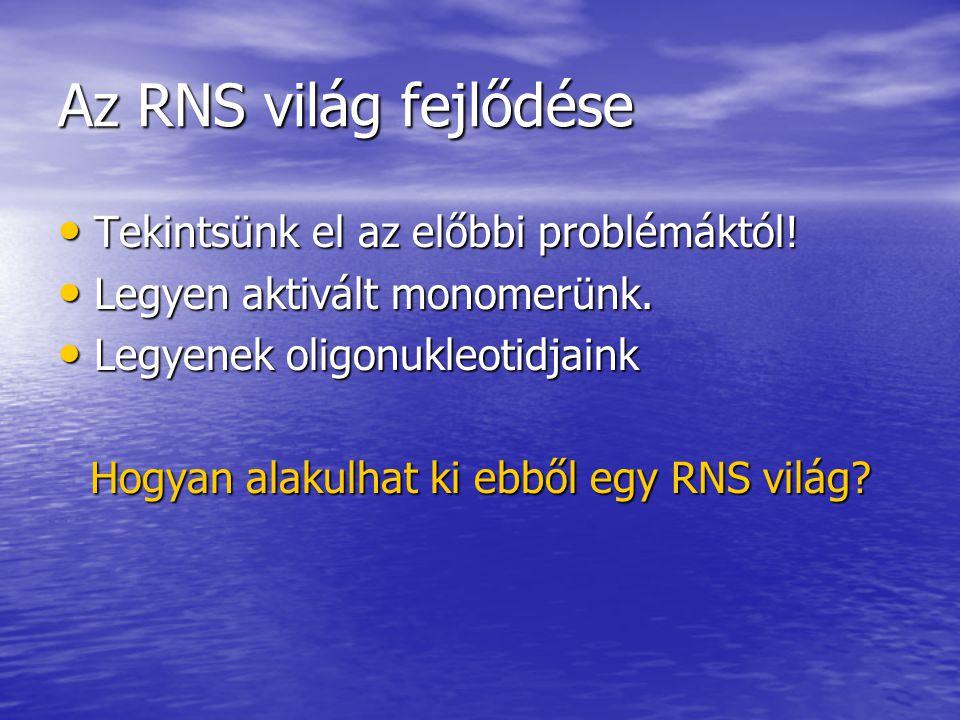 Az RNS világ fejlődése Tekintsünk el az előbbi problémáktól! Tekintsünk el az előbbi problémáktól! Legyen aktivált monomerünk. Legyen aktivált monomer