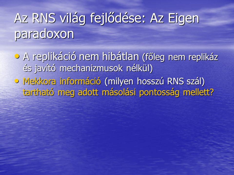 Az RNS világ fejlődése: Az Eigen paradoxon A replikáció nem hibátlan (főleg nem replikáz és javító mechanizmusok nélkül) A replikáció nem hibátlan (főleg nem replikáz és javító mechanizmusok nélkül) Mekkora információ (milyen hosszú RNS szál) tartható meg adott másolási pontosság mellett.