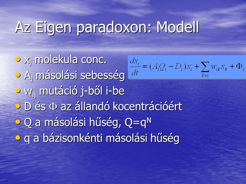 Az Eigen paradoxon: Modell x i molekula conc.x i molekula conc.
