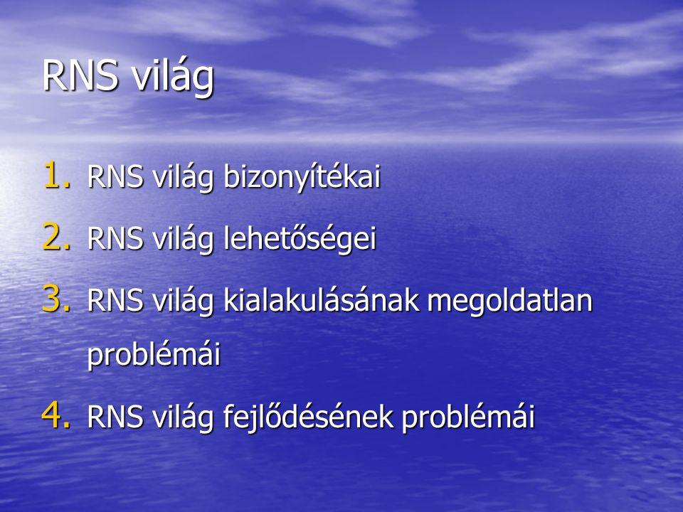 RNS világ 1. RNS világ bizonyítékai 2. RNS világ lehetőségei 3. RNS világ kialakulásának megoldatlan problémái 4. RNS világ fejlődésének problémái