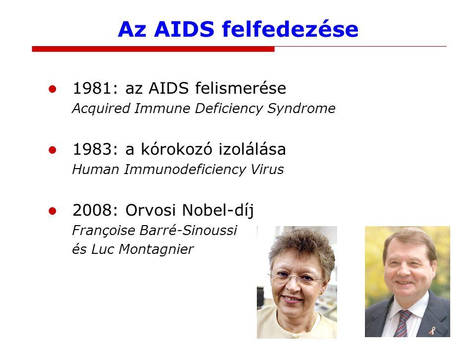 Az AIDS felfedezése 1981: az AIDS felismerése Acquired Immune Deficiency Syndrome 1983: a kórokozó izolálása Human Immunodeficiency Virus 2008: Orvosi