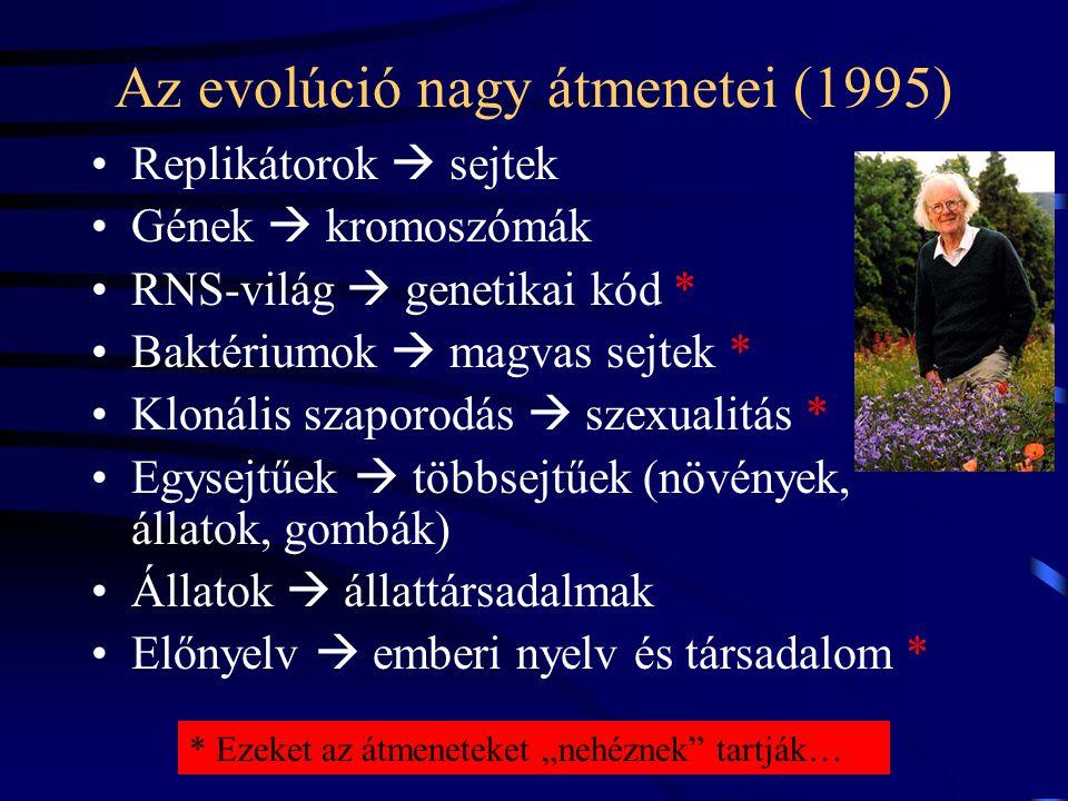 """Az evolúció nagy átmenetei (1995) Replikátorok  sejtek Gének  kromoszómák RNS-világ  genetikai kód * Baktériumok  magvas sejtek * Klonális szaporodás  szexualitás * Egysejtűek  többsejtűek (növények, állatok, gombák) Állatok  állattársadalmak Előnyelv  emberi nyelv és társadalom * * Ezeket az átmeneteket """"nehéznek tartják…"""
