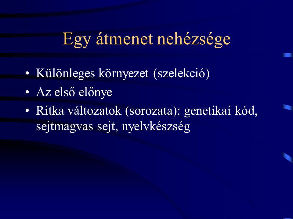 Egy átmenet nehézsége Különleges környezet (szelekció) Az első előnye Ritka változatok (sorozata): genetikai kód, sejtmagvas sejt, nyelvkészség