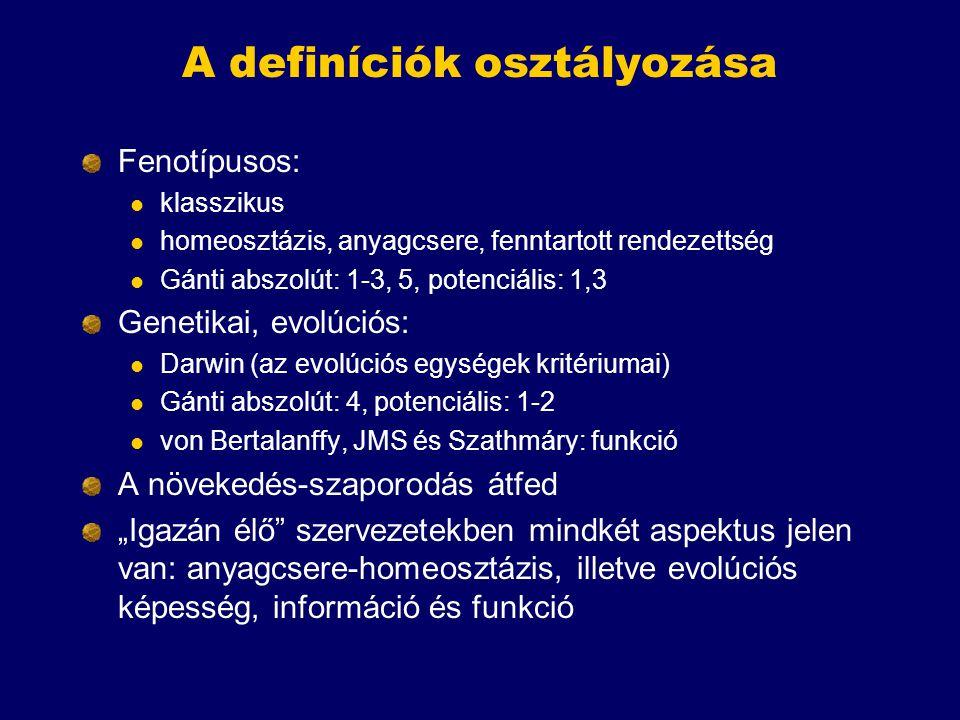 A definíciók osztályozása Fenotípusos: klasszikus homeosztázis, anyagcsere, fenntartott rendezettség Gánti abszolút: 1-3, 5, potenciális: 1,3 Genetika