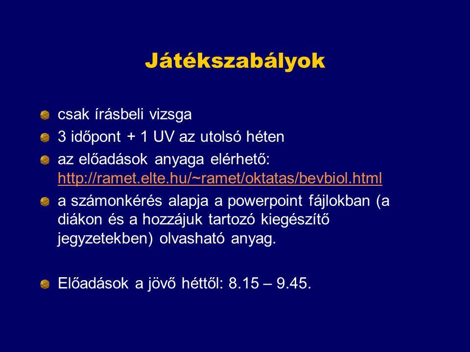 Játékszabályok csak írásbeli vizsga 3 időpont + 1 UV az utolsó héten az előadások anyaga elérhető: http://ramet.elte.hu/~ramet/oktatas/bevbiol.html ht