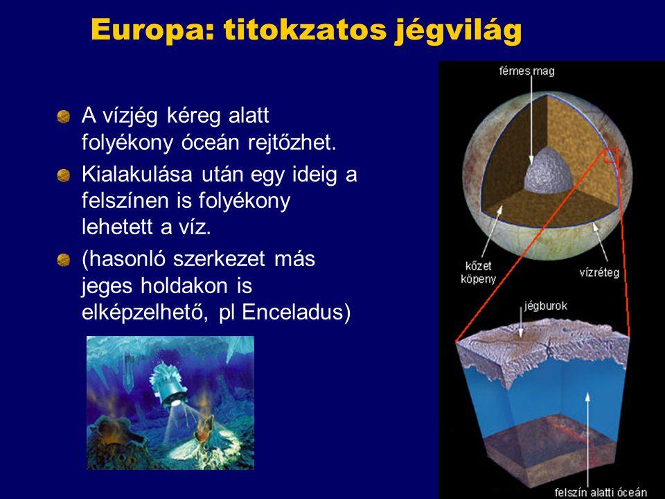 Europa: titokzatos jégvilág A vízjég kéreg alatt folyékony óceán rejtőzhet. Kialakulása után egy ideig a felszínen is folyékony lehetett a víz. (hason