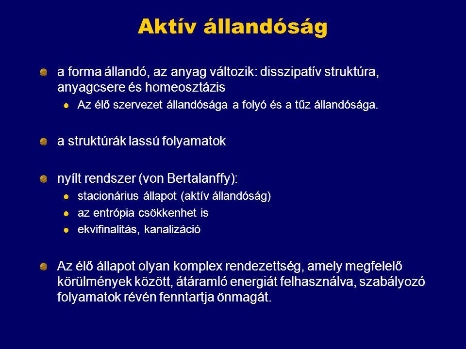 """A definíciók osztályozása Fenotípusos: klasszikus homeosztázis, anyagcsere, fenntartott rendezettség Gánti abszolút: 1-3, 5, potenciális: 1,3 Genetikai, evolúciós: Darwin (az evolúciós egységek kritériumai) Gánti abszolút: 4, potenciális: 1-2 von Bertalanffy, JMS és Szathmáry: funkció A növekedés-szaporodás átfed """"Igazán élő szervezetekben mindkét aspektus jelen van: anyagcsere-homeosztázis, illetve evolúciós képesség, információ és funkció"""