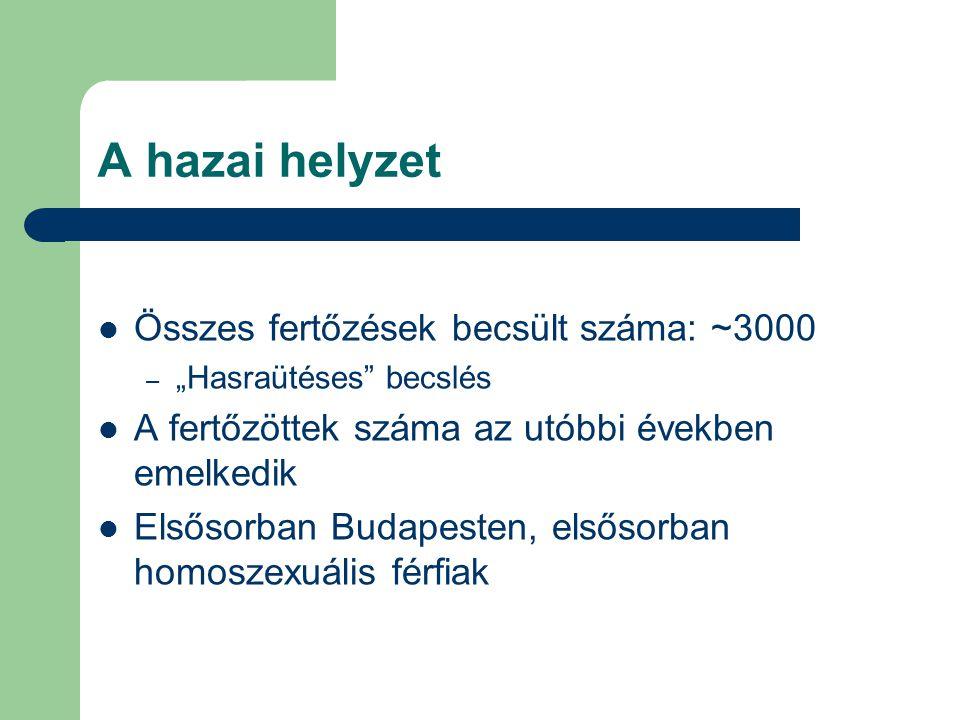 """A hazai helyzet Összes fertőzések becsült száma: ~3000 – """"Hasraütéses becslés A fertőzöttek száma az utóbbi években emelkedik Elsősorban Budapesten, elsősorban homoszexuális férfiak"""
