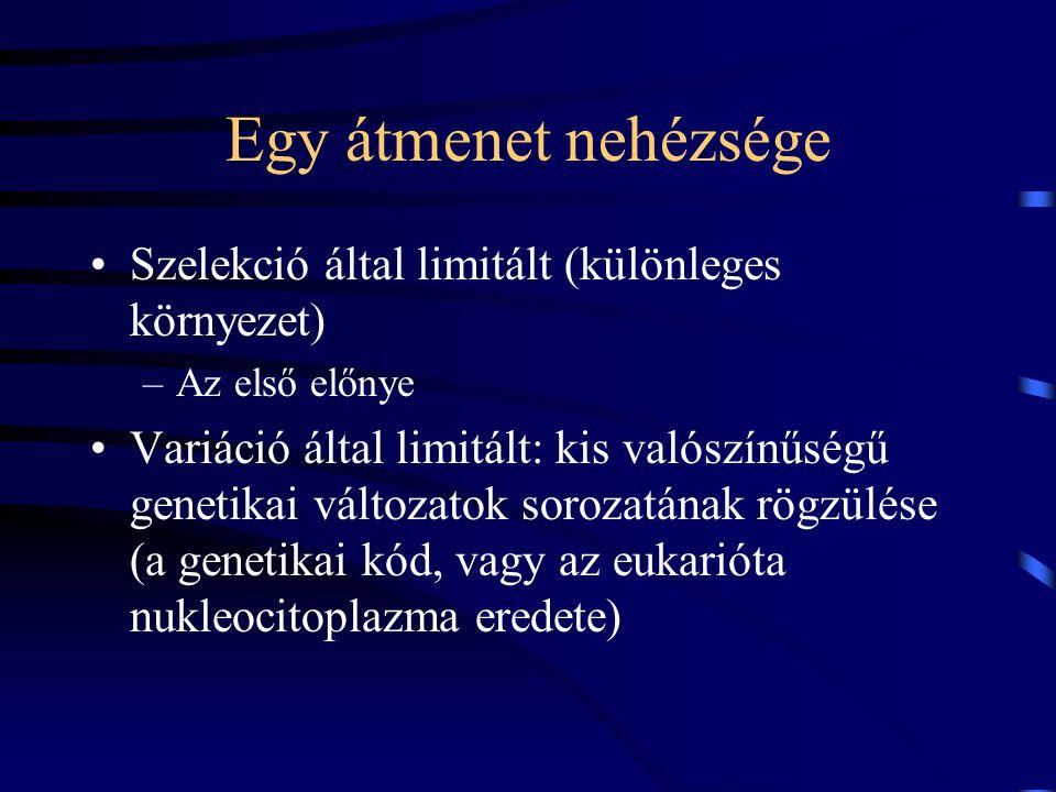 Egy átmenet nehézsége Szelekció által limitált (különleges környezet) –Az első előnye Variáció által limitált: kis valószínűségű genetikai változatok sorozatának rögzülése (a genetikai kód, vagy az eukarióta nukleocitoplazma eredete)