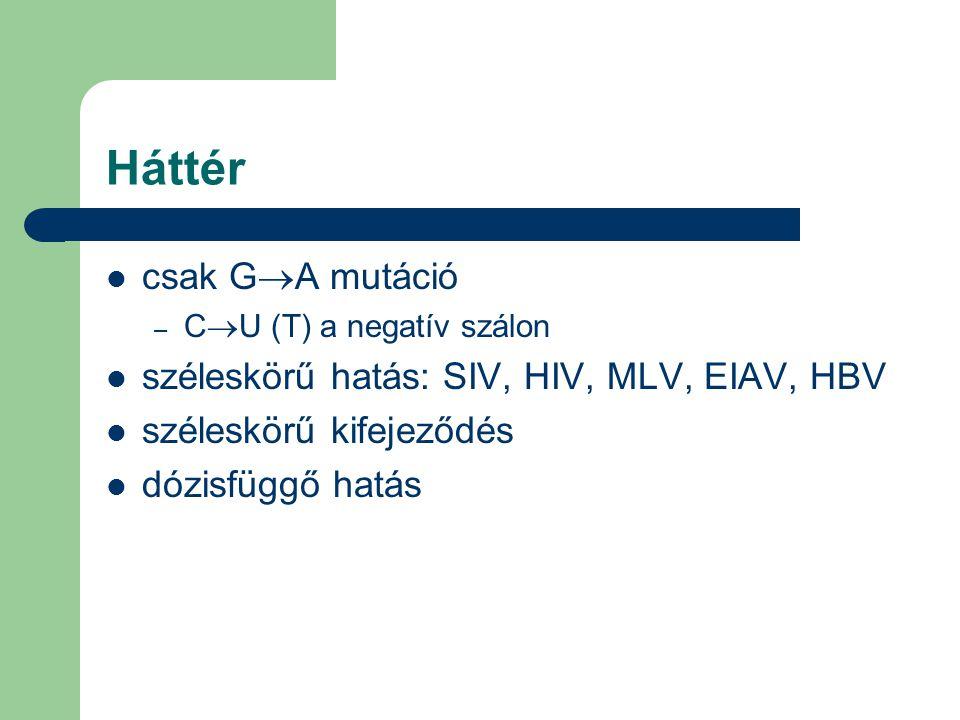 csak G  A mutáció – C  U (T) a negatív szálon széleskörű hatás: SIV, HIV, MLV, EIAV, HBV széleskörű kifejeződés dózisfüggő hatás