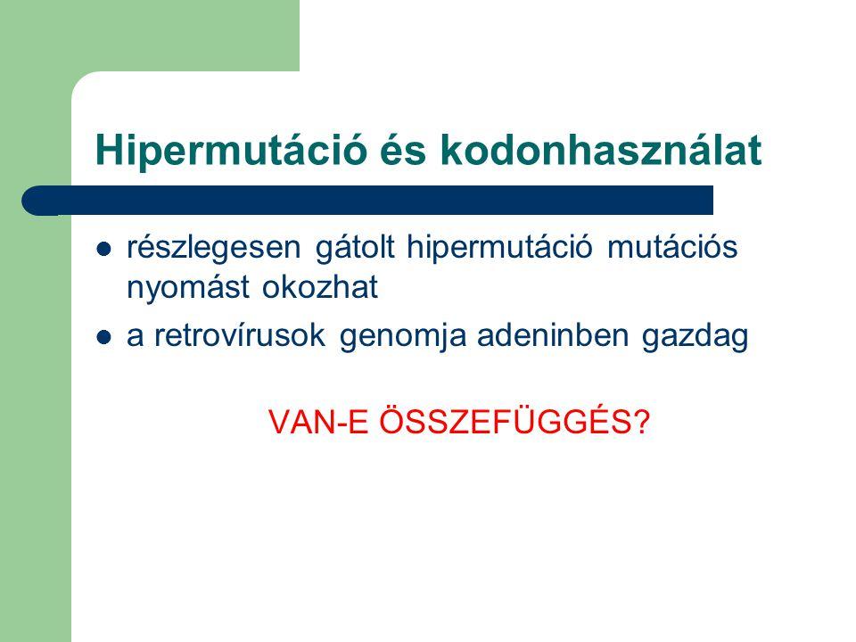 Hipermutáció és kodonhasználat 1115 virális referenciaszekvencia szinonim kodonpárok, pl.