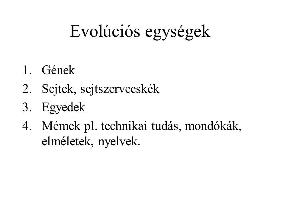 Evolúciós egységek 1.Gének 2.Sejtek, sejtszervecskék 3.Egyedek 4.Mémek pl. technikai tudás, mondókák, elméletek, nyelvek.