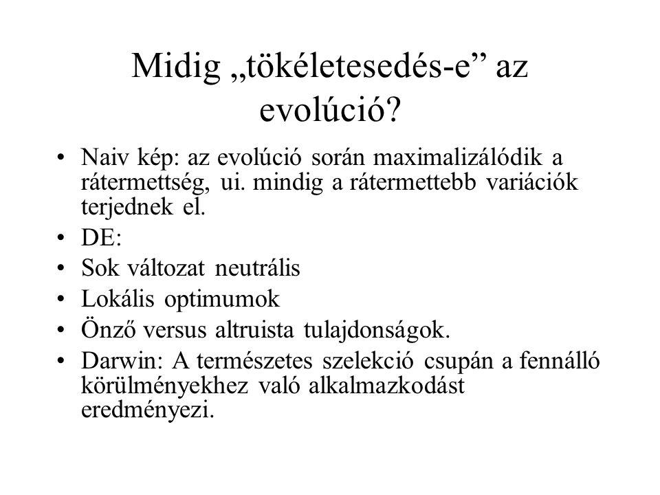 """Midig """"tökéletesedés-e"""" az evolúció? Naiv kép: az evolúció során maximalizálódik a rátermettség, ui. mindig a rátermettebb variációk terjednek el. DE:"""