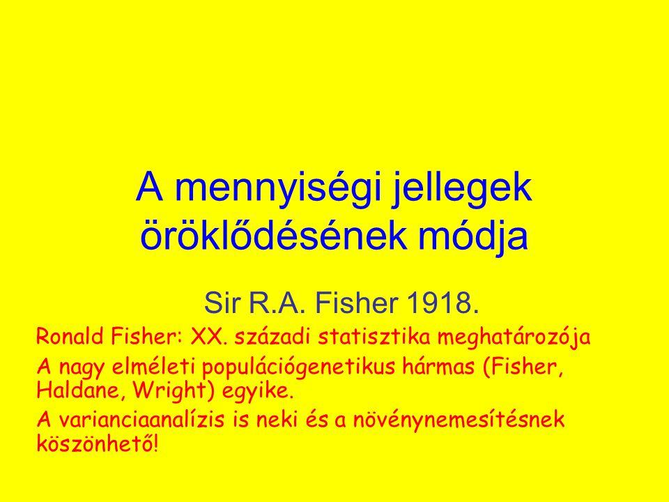 A mennyiségi jellegek öröklődésének módja Sir R.A. Fisher 1918. Ronald Fisher: XX. századi statisztika meghatározója A nagy elméleti populációgenetiku