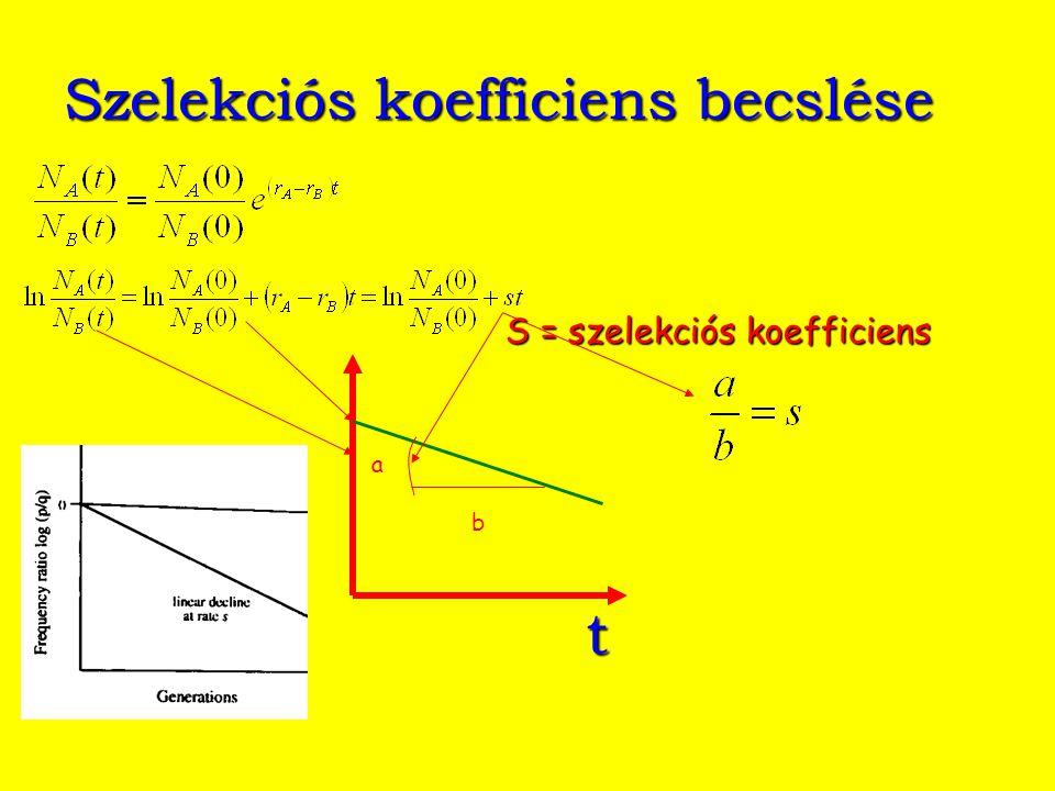Szelekciós koefficiens becslése t S = szelekciós koefficiens a b
