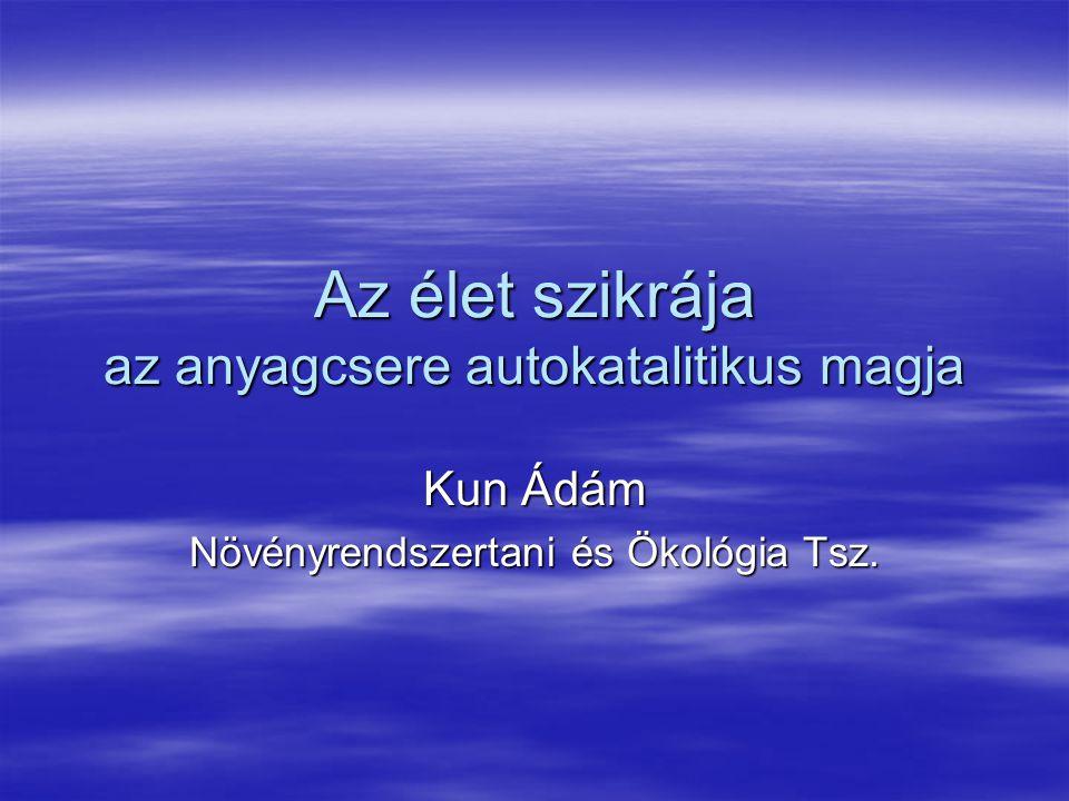 Az élet szikrája az anyagcsere autokatalitikus magja Kun Ádám Növényrendszertani és Ökológia Tsz.
