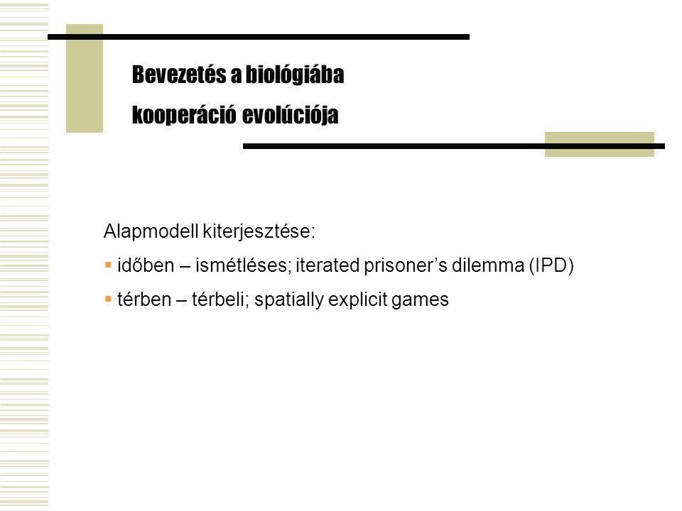 Alapmodell kiterjesztése:  időben – ismétléses; iterated prisoner's dilemma (IPD)  térben – térbeli; spatially explicit games Bevezetés a biológiába kooperáció evolúciója